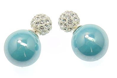 Earrings, Tribal Earrings, faceted Crystal, big Balls Mother of Pearl, Pins in 925 Sterling Silver