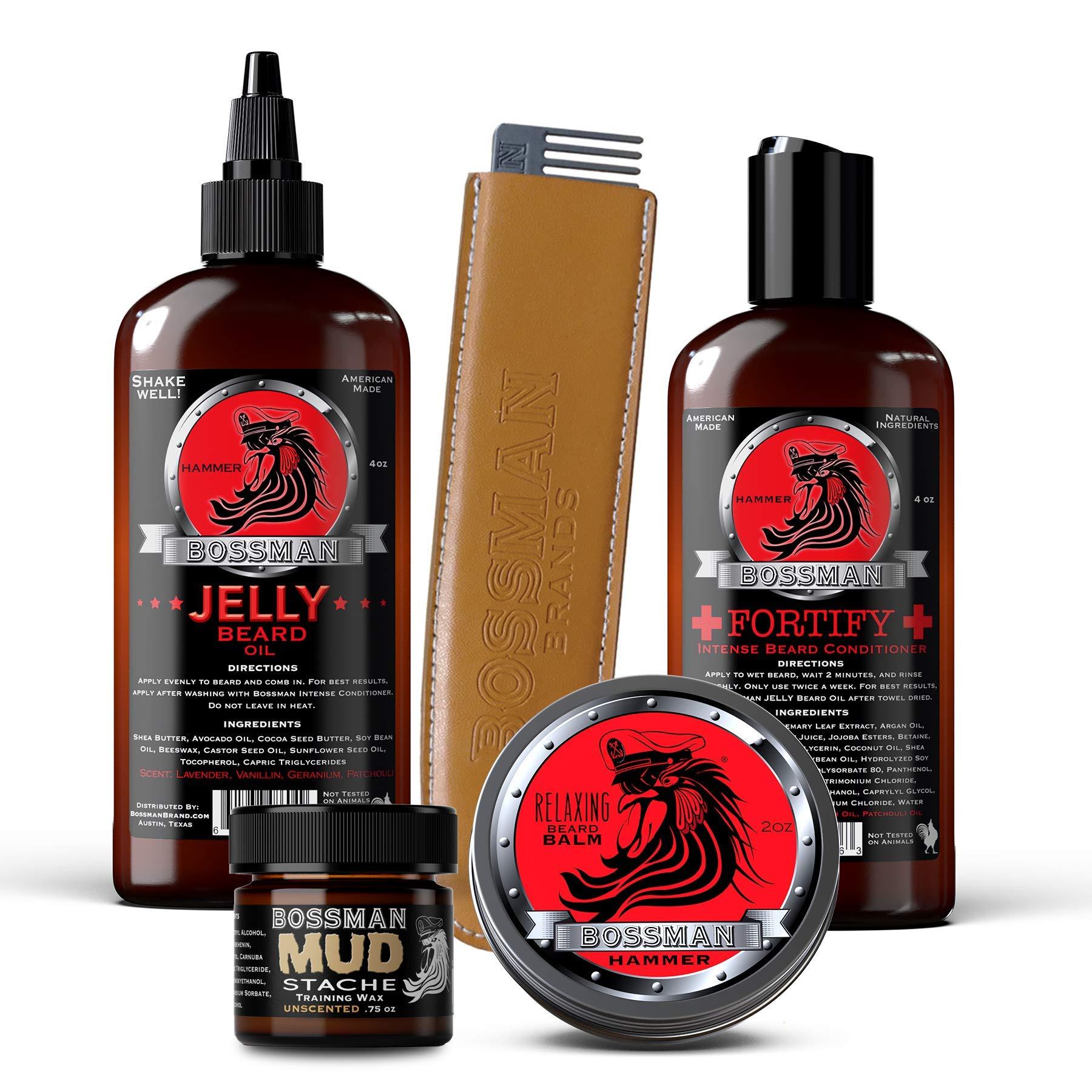 Bossman Complete Beard Kit - Beard Oil, Conditioner, and Balm. Eliminate Beard Itch, Grower a Thicker, More Mature Beard (Hammer Scent) by Bossman