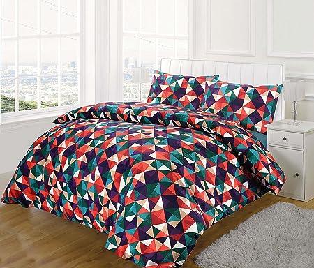 Nimsay Home Diamond Multi Colour Geometric Design Quilt Duvet Cover