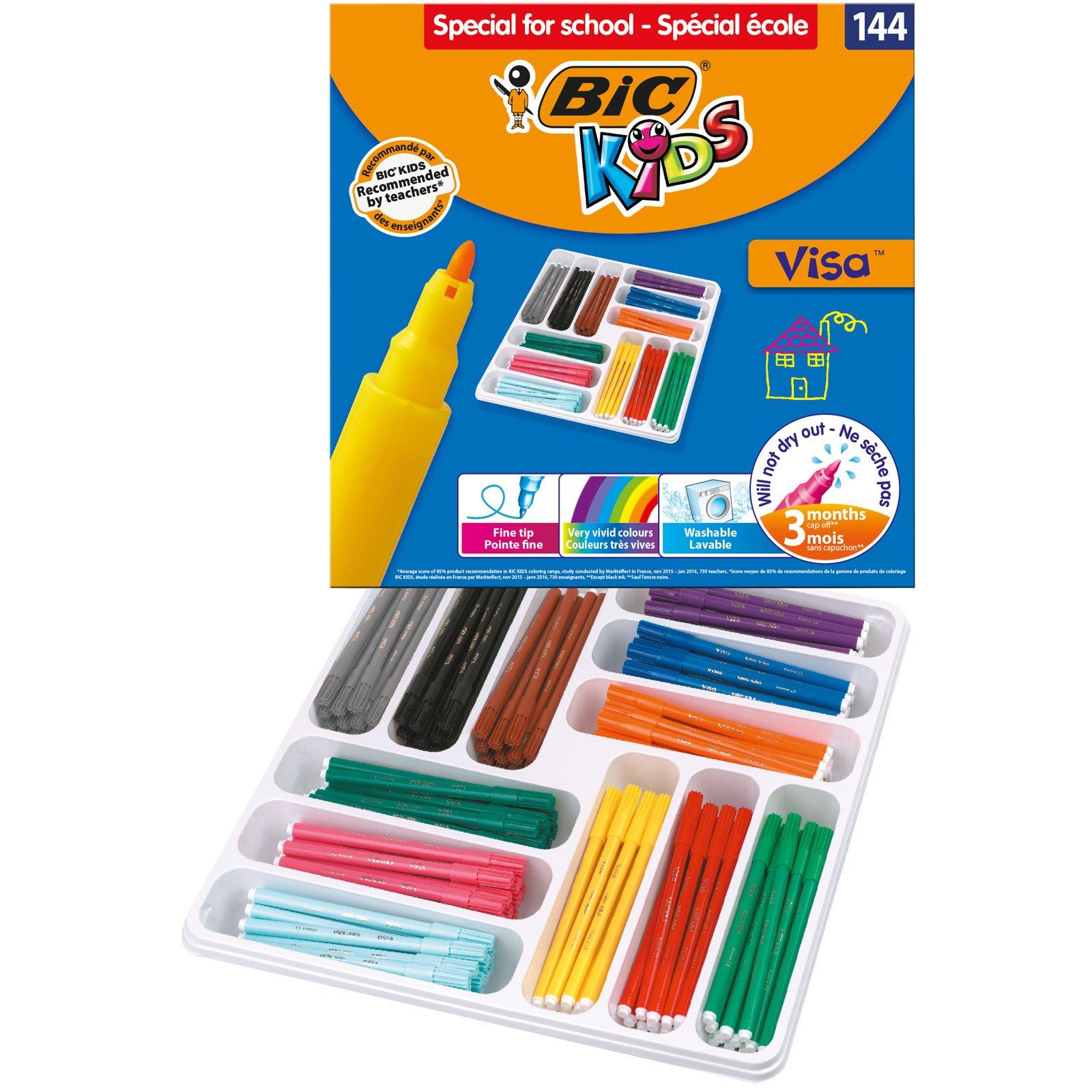 BIC Kids Visa Felt Pens - Assorted Colours, Classpack of 144 by BIC