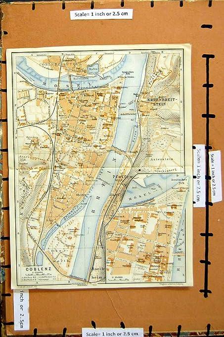 Karte Koblenz.Karte Deutschland Strassen Plan Stadt Koblenz Fluss 1925 Rhein