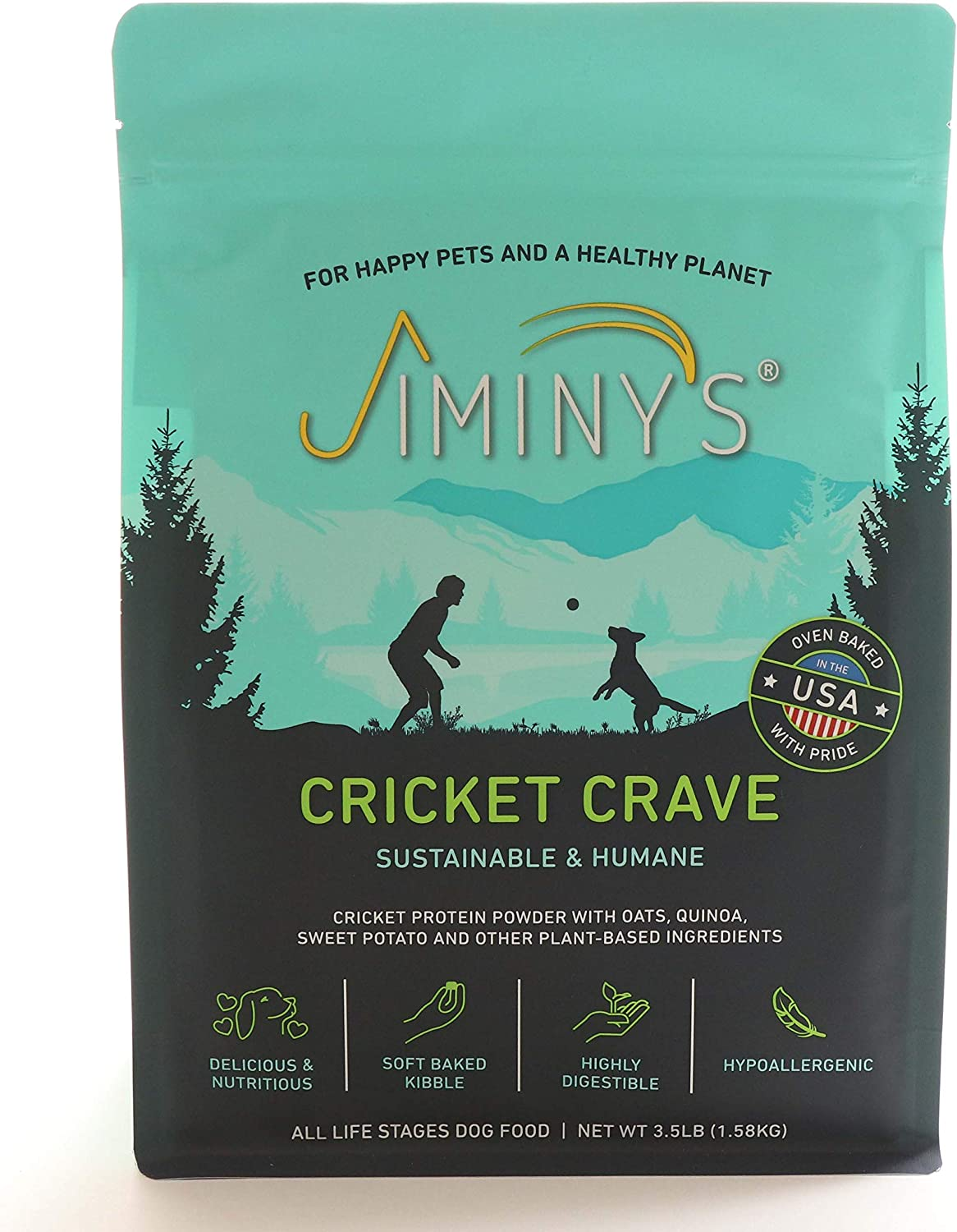 Jiminy's Cricket Crave Cricket Protein Oven-Baked Dog Food 3.5 lb Bag   100% Made in The USA   Gluten-Free   Sustainable   Limited Ingredients   High Protein   Hypoallergenic