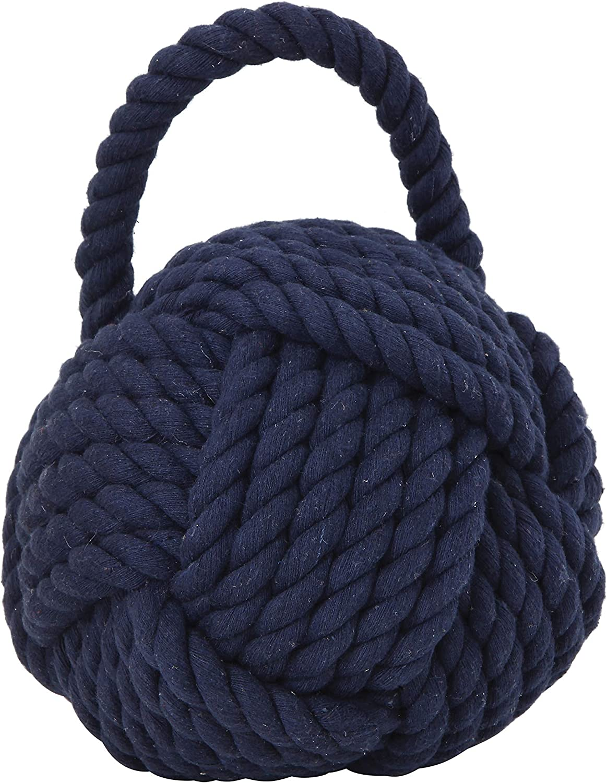 Creative Co-op Knot Cotton Door Stop Nautical Rope, Navy Blue
