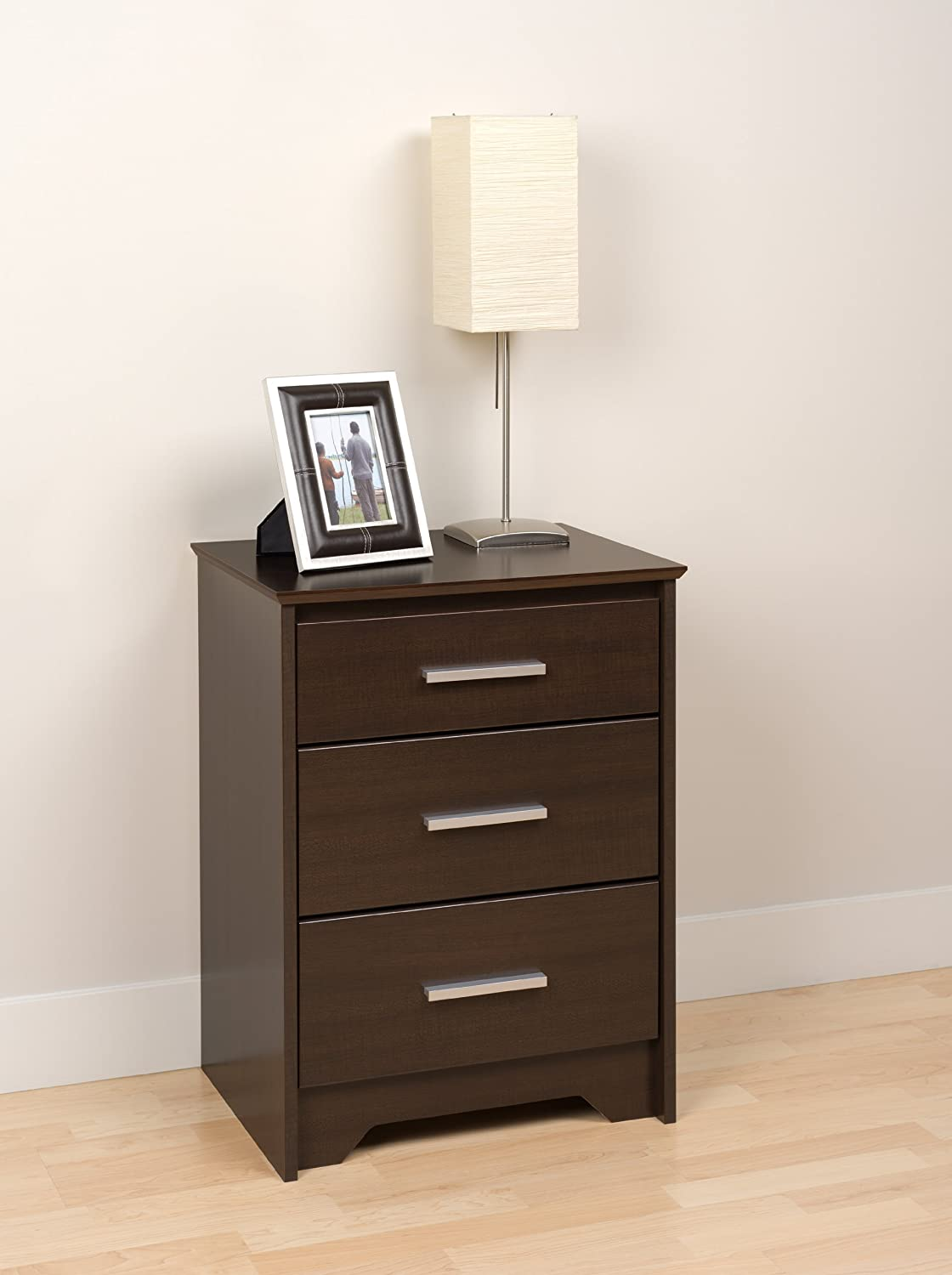 Prepac BCH-2027 Coal Harbor 3-Drawer Tall Nightstand, Black Prepac Manufacturing