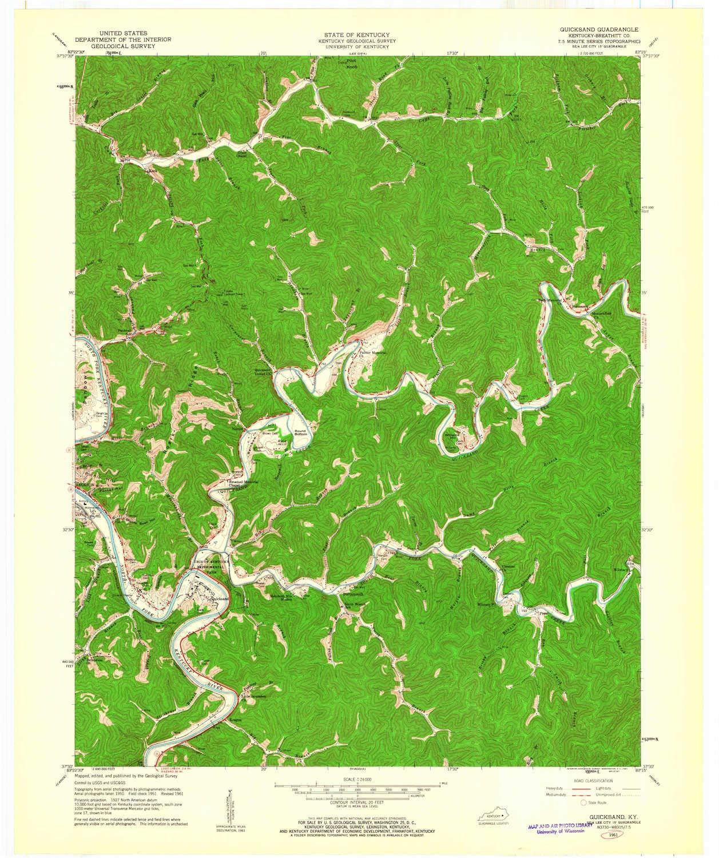 Amazon.com : YellowMaps Quicksand KY topo map, 1:24000 Scale, 7.5 X ...