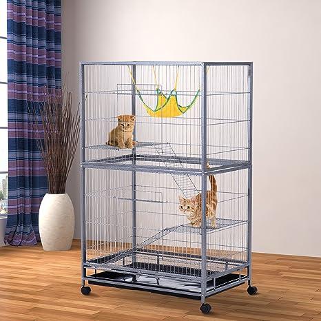 Pawhut grande jaula de metal diseño de gato Condo Deluxe mascota ...