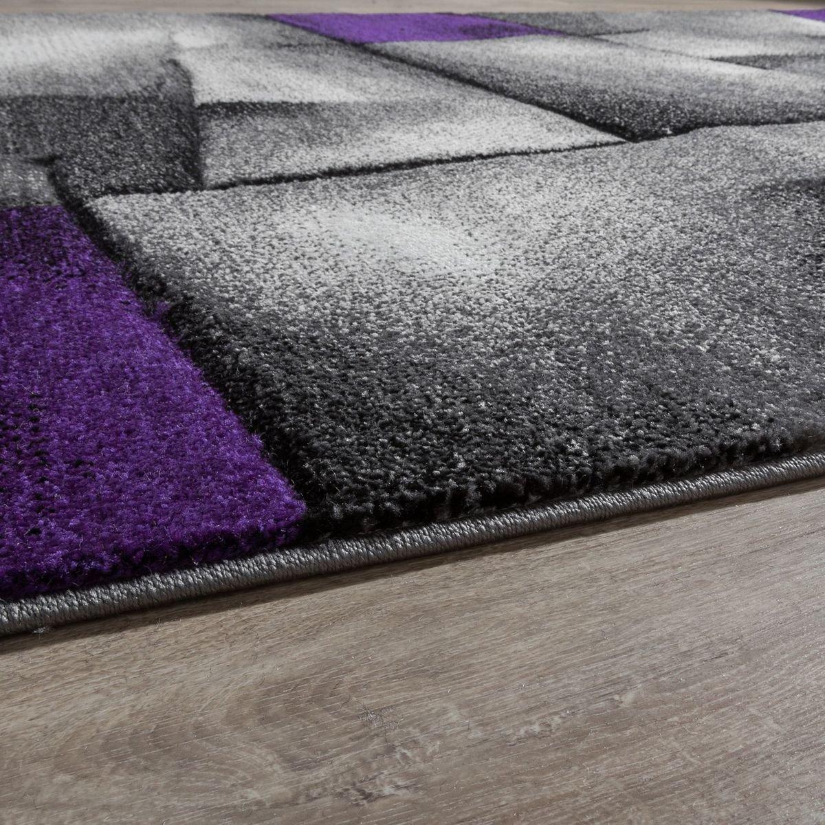 T&T Design Teppich Modern Wohnzimmer Teppiche Karo Lila Grau Grau Grau Konturenschnitt Ausverkauf, Größe 160x230 cm B01N2QHP4Y Teppiche 1ed1e4