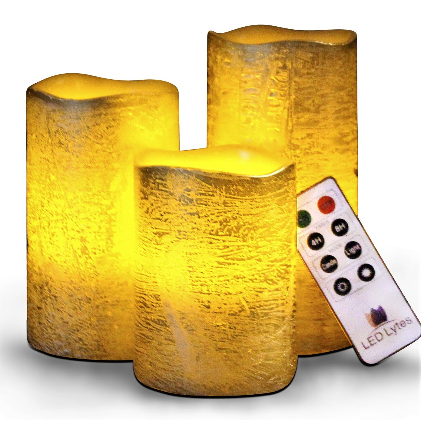 Battery Operated LED Flameless Candles - Set of 3 Round Rustic Gold Coated Ivory Wax with Amber Yellow Flame Flickering LED Candles, auto-Off Timer Remote Control by LED Lytes
