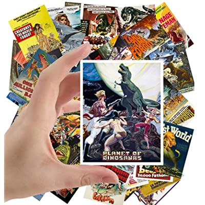 "Large Stickers (24 pcs 2.5""x3.5"") Dinosaur Monster Prehistoric Vintage Trash Movie Posters Ads: Toys & Games"