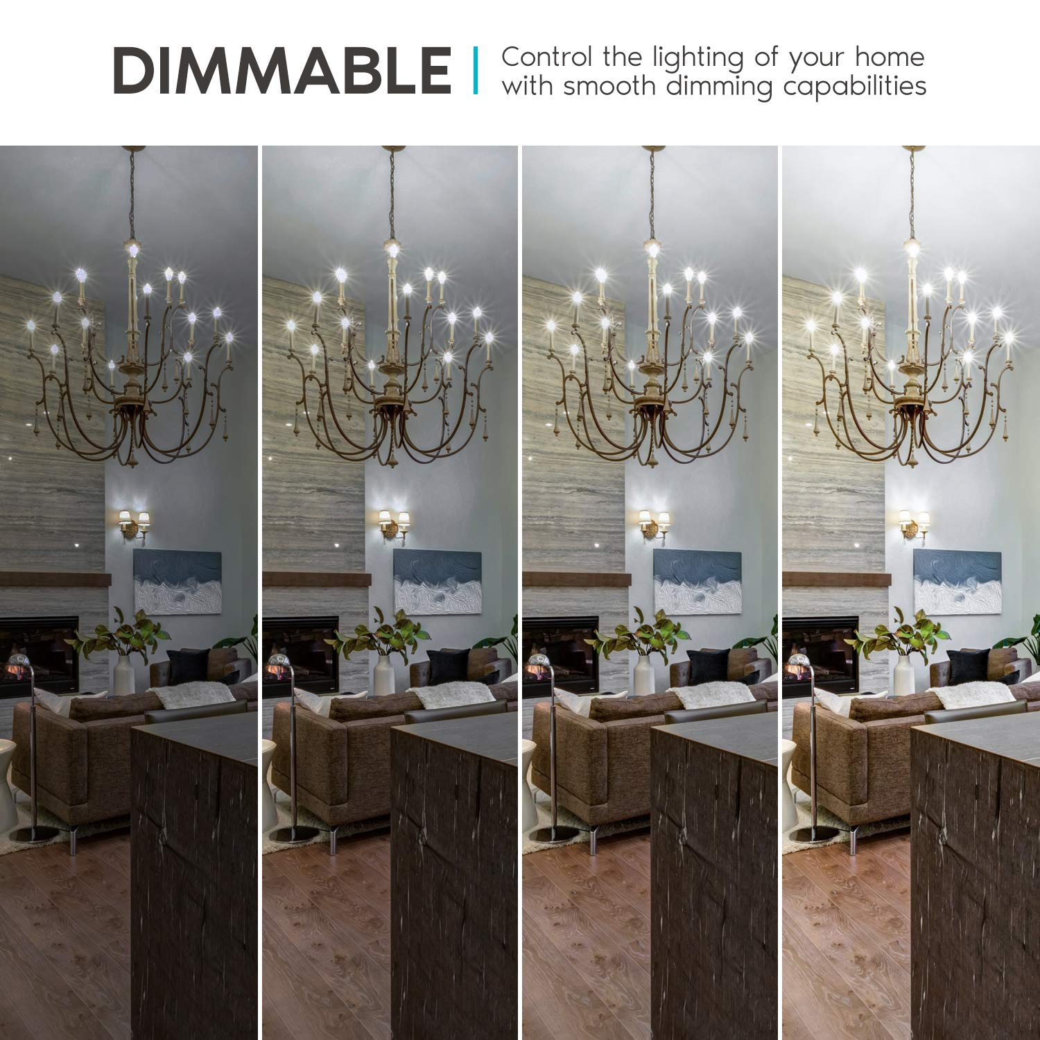 Luxrite 4W Vintage Candelabra LED Bulbs Dimmable LR21225-12 UL Listed 12 Pack E12 LED Bulb 40W Equivalent 450 Lumens Edison Filament LED Candle Bulb 5000K Bright White Torpedo Tip Clear Glass