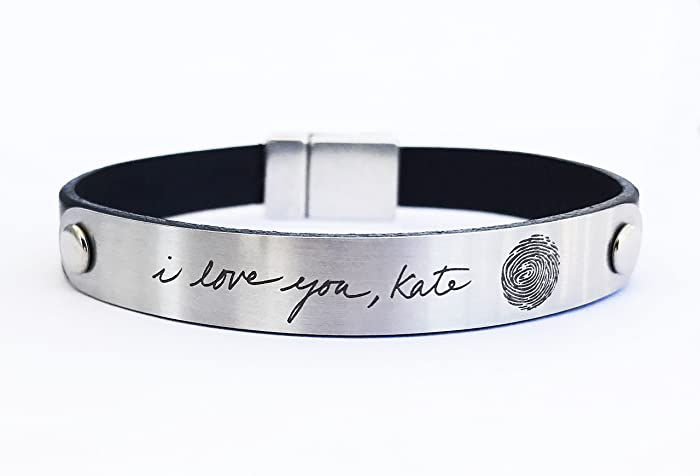 Custom Handwriting Bracelet Signature Jewelry for Men Fingerprint