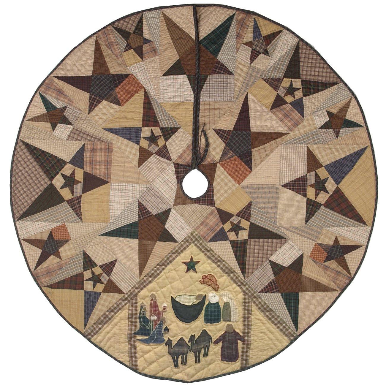 Primitive Star with Nativity Quilted Christmas Tree Skirt 60 Inches Round 100% Cotton Handmade Hand Quilted Appliqued Embroidered Heirloom Quality by Choices Quilts (Image #1)