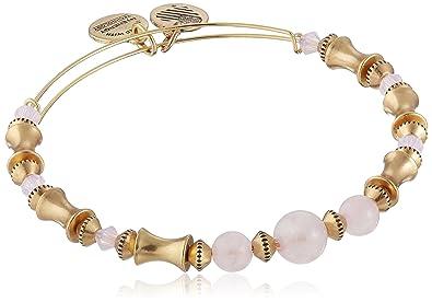 39504592078 Amazon.com: Alex and Ani Rose Quartz Beaded Rafaelian Gold Bangle ...
