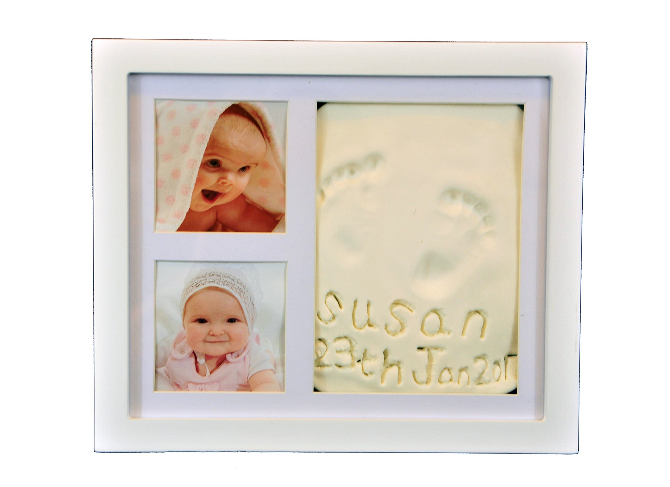 Beautiful Hand and Footprint Baby Frame, Its a Cool and Unique Baby Shower Gift, A Memorable Keepsake Baby Decoration That is a Great Baby Gift - with a Bonus Gift (White) by Cute Happy Baby