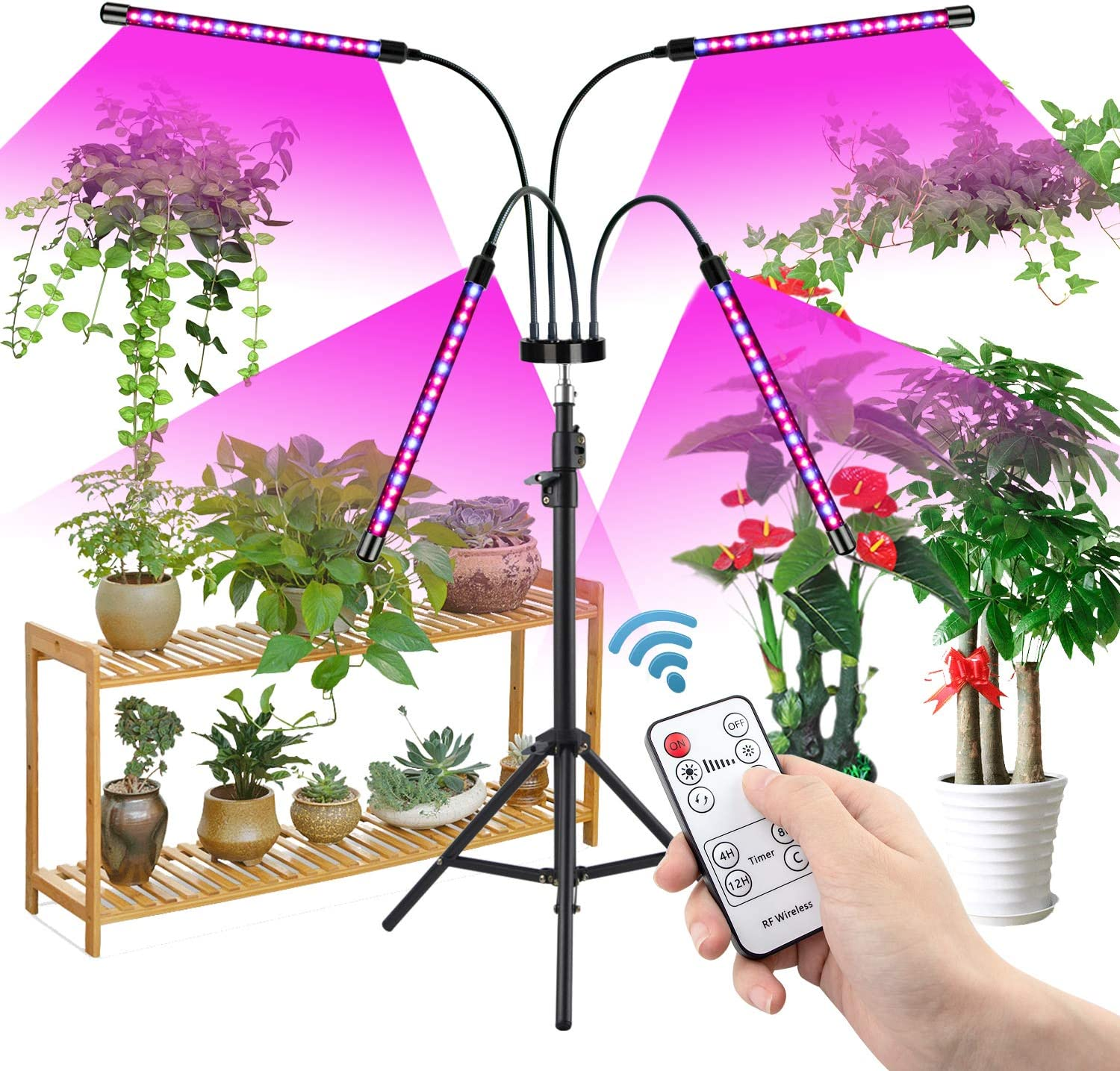 Grow Light with Stand, Growstar Newest Four-Head Full Spectrum Floor Plant Light with Dual Controllers for Indoor Plants, Tripod Stand Adjustable 15-47 in, Timing 3H/9H/12H, 3 Modes&10 Brightness