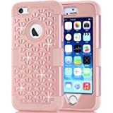 Hocase iPhone 5s Cute Case with Sparkly Glitter Bling Rhinestones Hybrid Dual Layer Protective Hard Back Cover+Silicone Bumper for Apple iPhone 5/5s/SE - Rose Gold