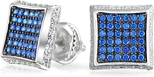 LOVELY 3 CT SAPPHIRE 925 STERLING SILVER MICRO PAVE STUD EARRINGS