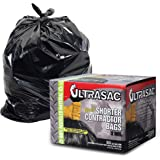 UltraSac Contractor Trash Bags - (50 Pack/w Ties) - Heavy Duty 3 MIL Thick, 39' x 32', Shorter 33 Gallon Black Version - for Industrial, Commercial, Professional, Construction, Lawn, Leaf, and More