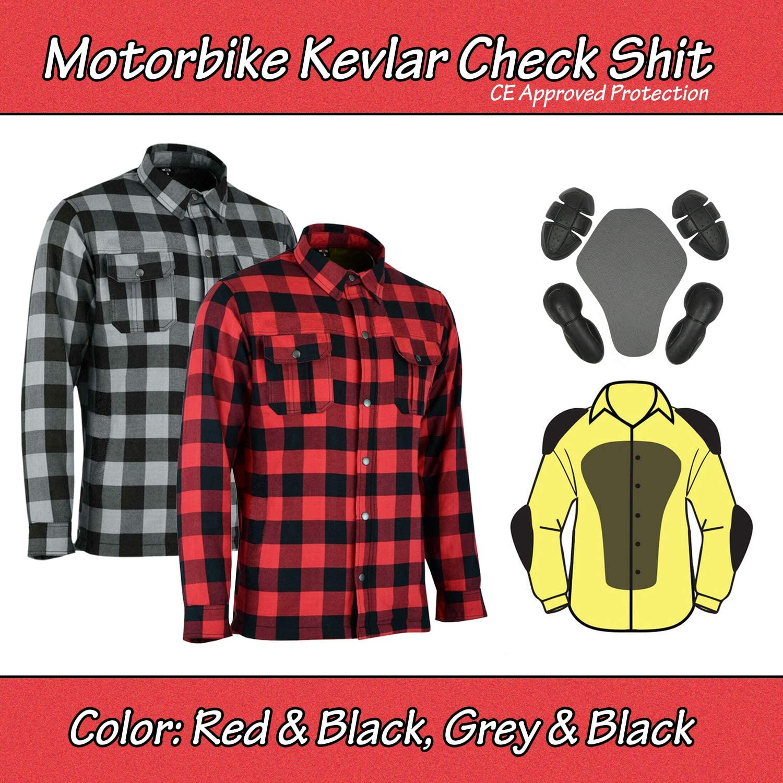 Motorrad Motorrad Holzf/äller Kevlar Shirt vollst/ändig gesch/ützt mit abnehmbaren CE gepanzerte Premium Qualit/ät Flanell 2 Farben alle Gr/ö/ßen Medium, Rot /& Schwarz