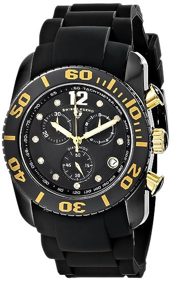Swiss Legend Mens 10127-01-GA Commander Diamonds Analog Display Swiss Quartz Black Watch
