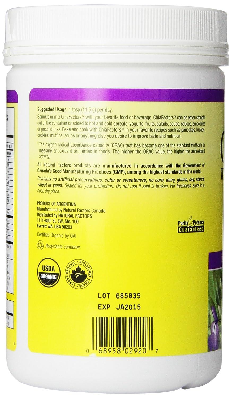 Amazon.com: Natural Factors - ChiaFactors, 100% Pure Chia Seeds, 30 Servings (12.6 oz): Health & Personal Care
