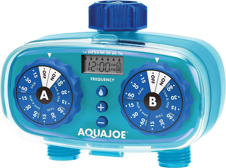 Aqua Joe AJ-ET2Z Easy 2-Zone Electronic Timer w/13 Program Presets, LCD Display, Max Frequency Control