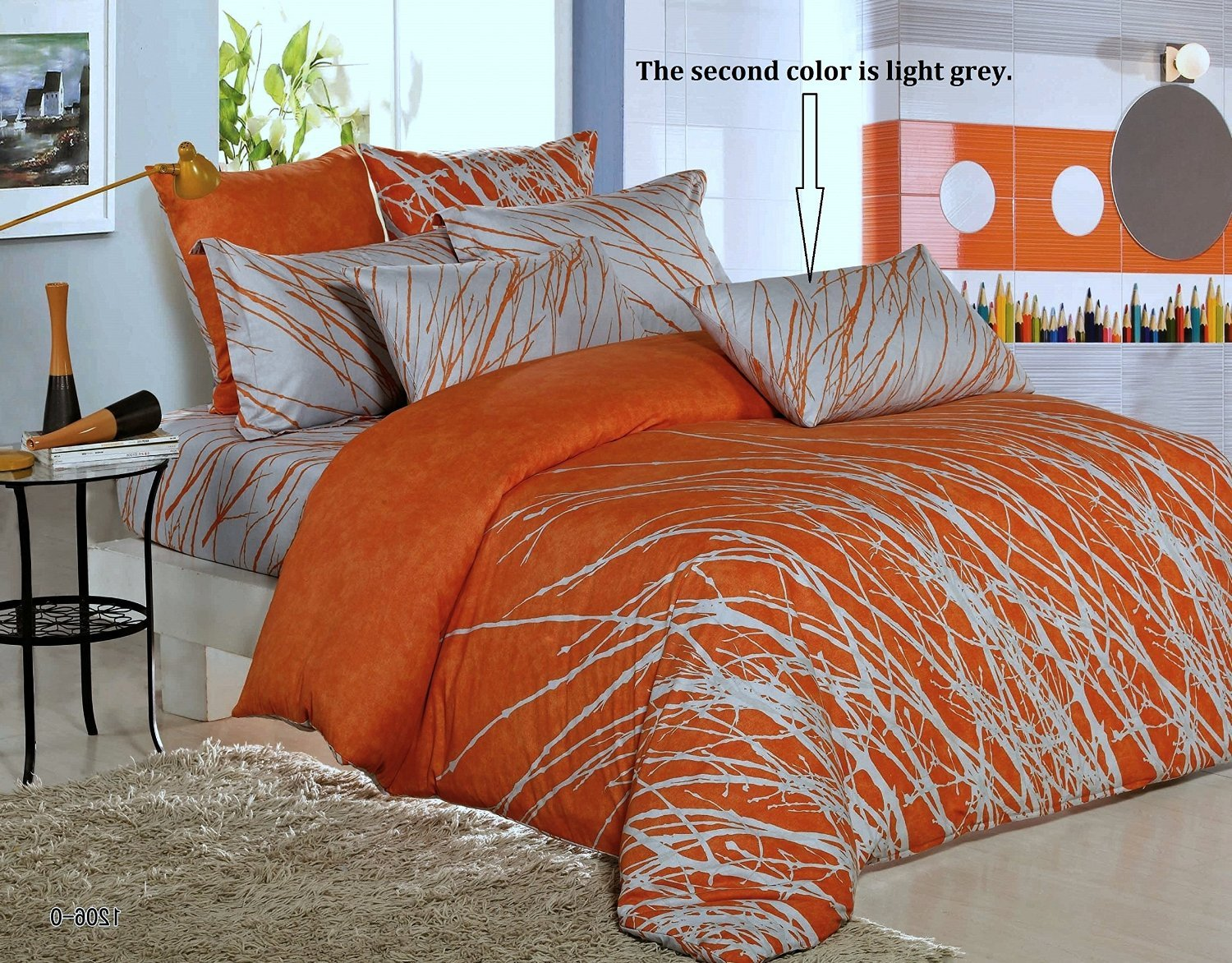 3pc Tree 100% Cotton Duvet Cover Set: Duvet Cover and Pillowcases (Orange-grey, King