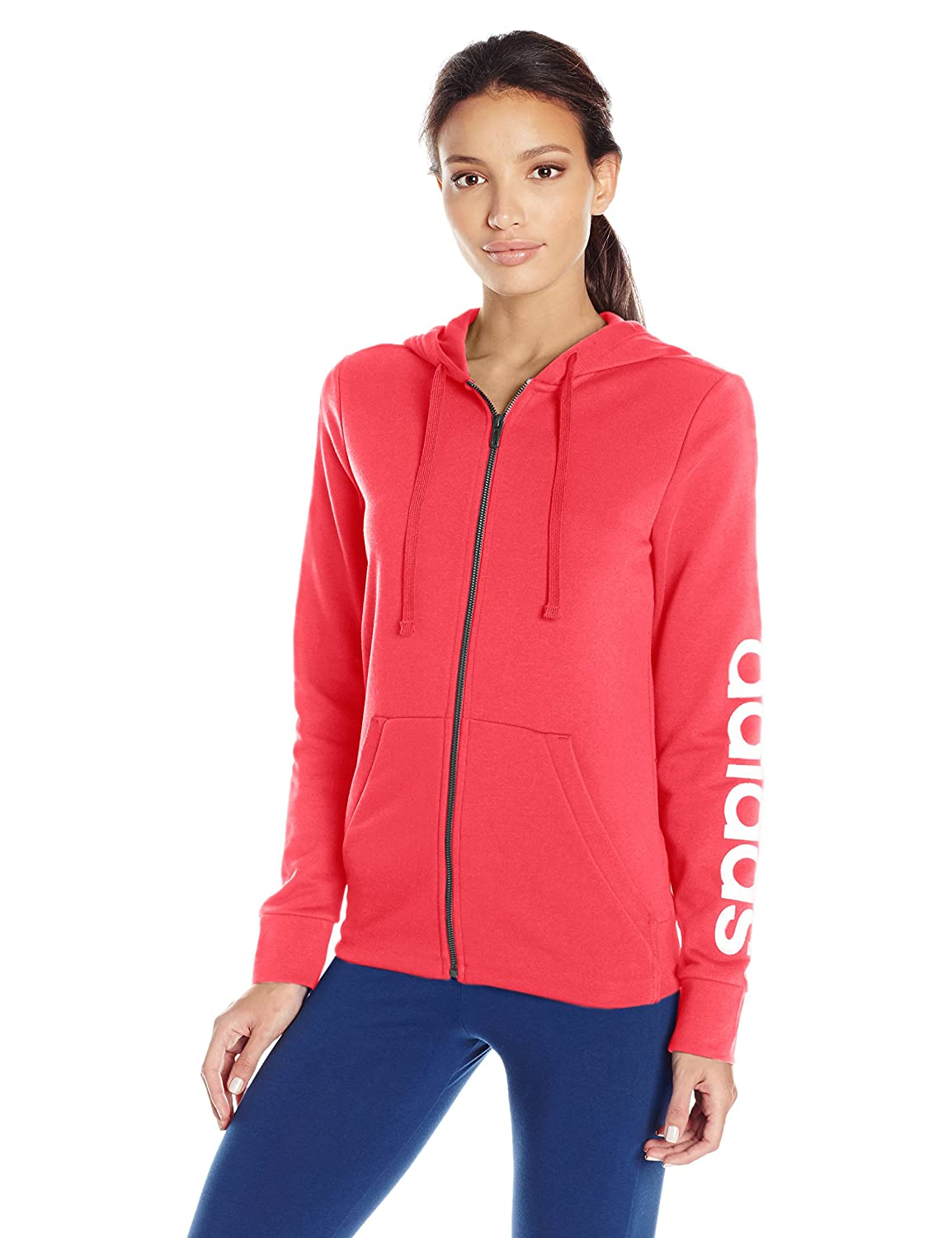 Real Coral White adidas Women's Linear FullZip Hoodie