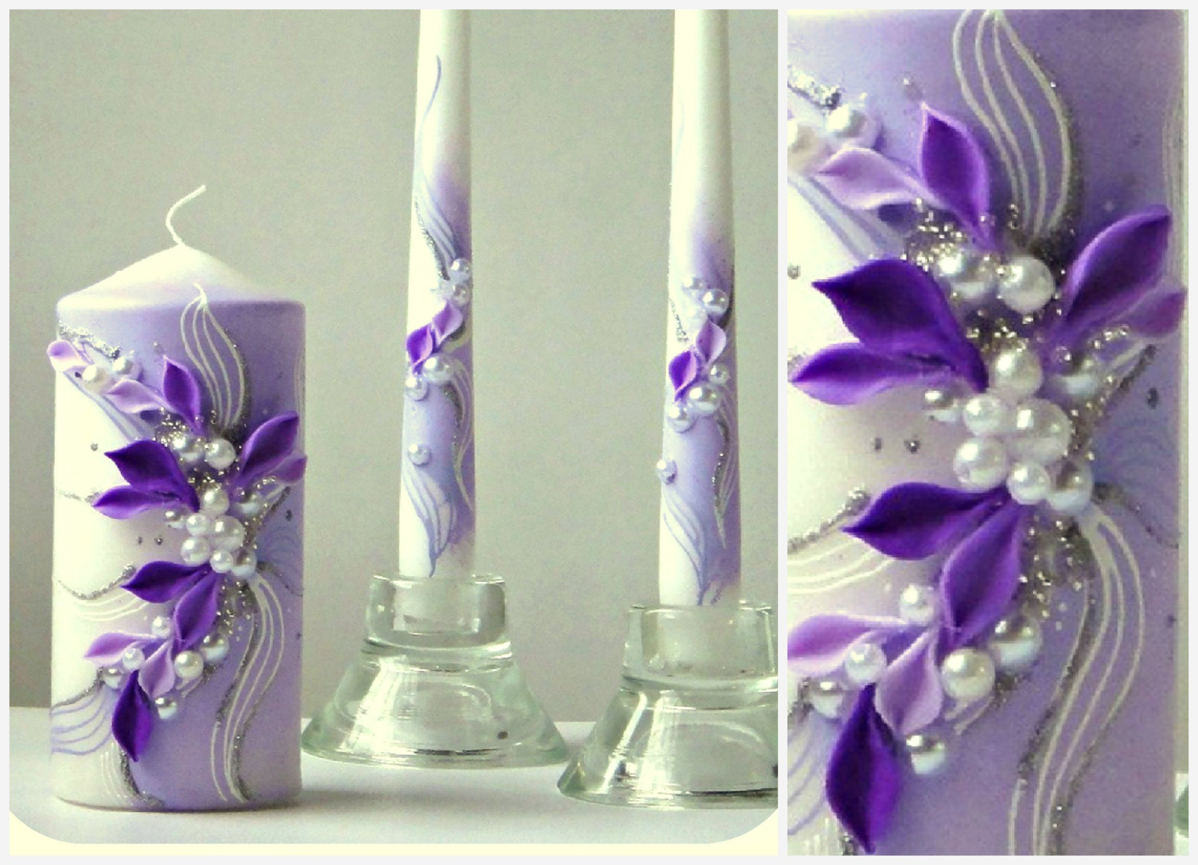 Magik Life Unity Candle Set |Decorations for Wedding |Outdoor |Bar |Restaurant |Party Home| Birthday |Wedding Settings |Ceremony Ideas Party (Violet with Flowers) by Magik Life