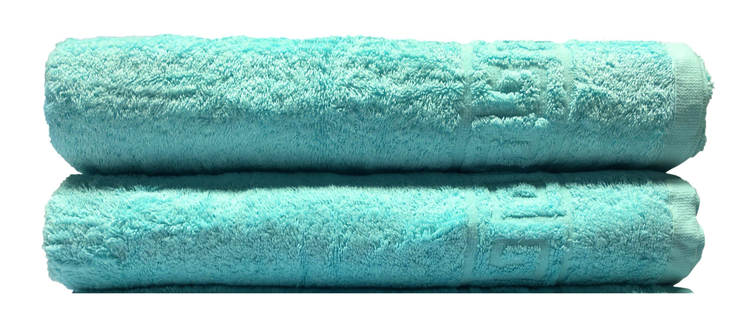 Goza Towels Greek Key Design Cotton Towels (Light Turquoise, Bath Towels - 2 Pack)