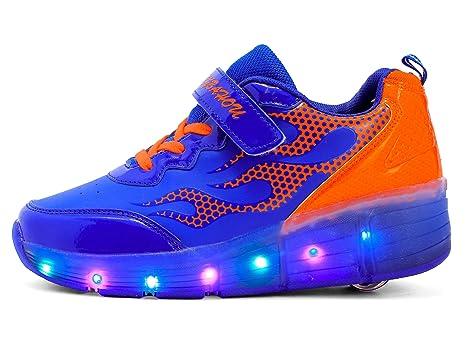 Mr.ANG Zapatillas Sneakers luces LED parpadeante – Zapatos de deporte zapatos con ruedas con