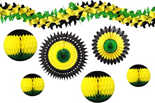 product image for 7-piece Complete Jamaican Honeycomb Party Decoration Set (Black/Yellow/Green)