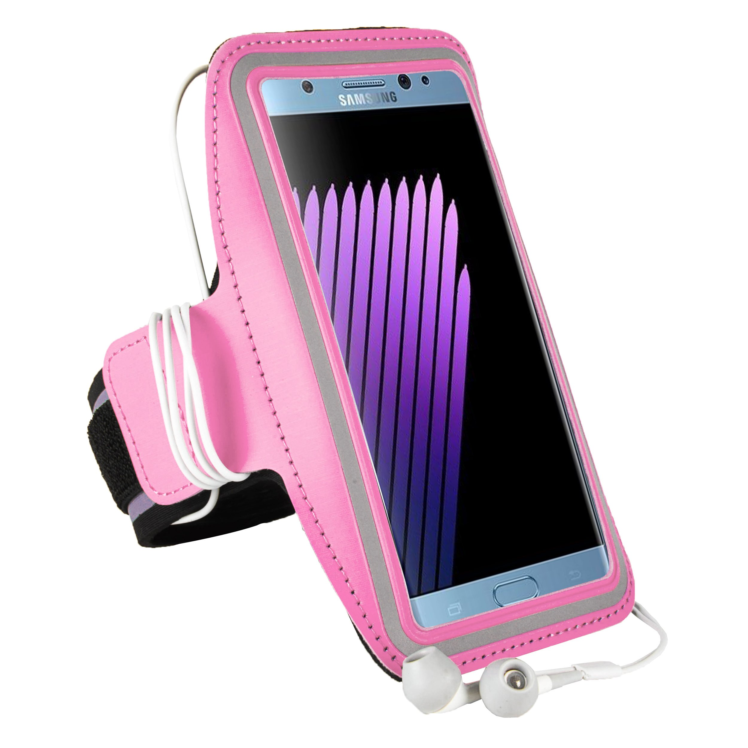 Suamclife Sport Gym Running Armband Carrying Case for Samsung Galaxy S8 Active/A5 C7 J5 J7/J7 Pro/J7 Perx/J7 V/C5 Pro/Xcover 4 (Pink)