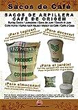 Telas para Tapizar de Arpillera. Tela de Saco para Tapicería. Saco de café de origen reutilizado de Arpillera 100% de Yute natural (70x100 cm)