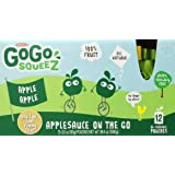 GoGo squeeZ Applesauce On The Go, Apple Apple, 3.2 Ounce Pouches, 12 Count (Case of 6)