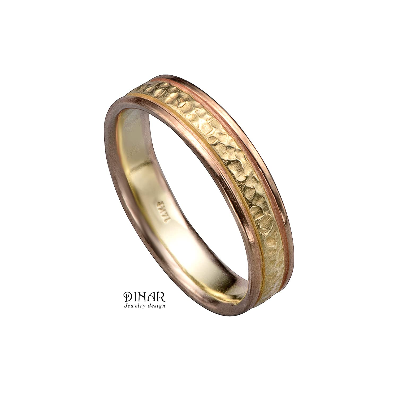 Hammered Band Rose Gold Ring|Fashion Ring Hammered 18K Solid Gold Band White Gold Band Stackable Rings Solid Gold Ring Rose Gold Band