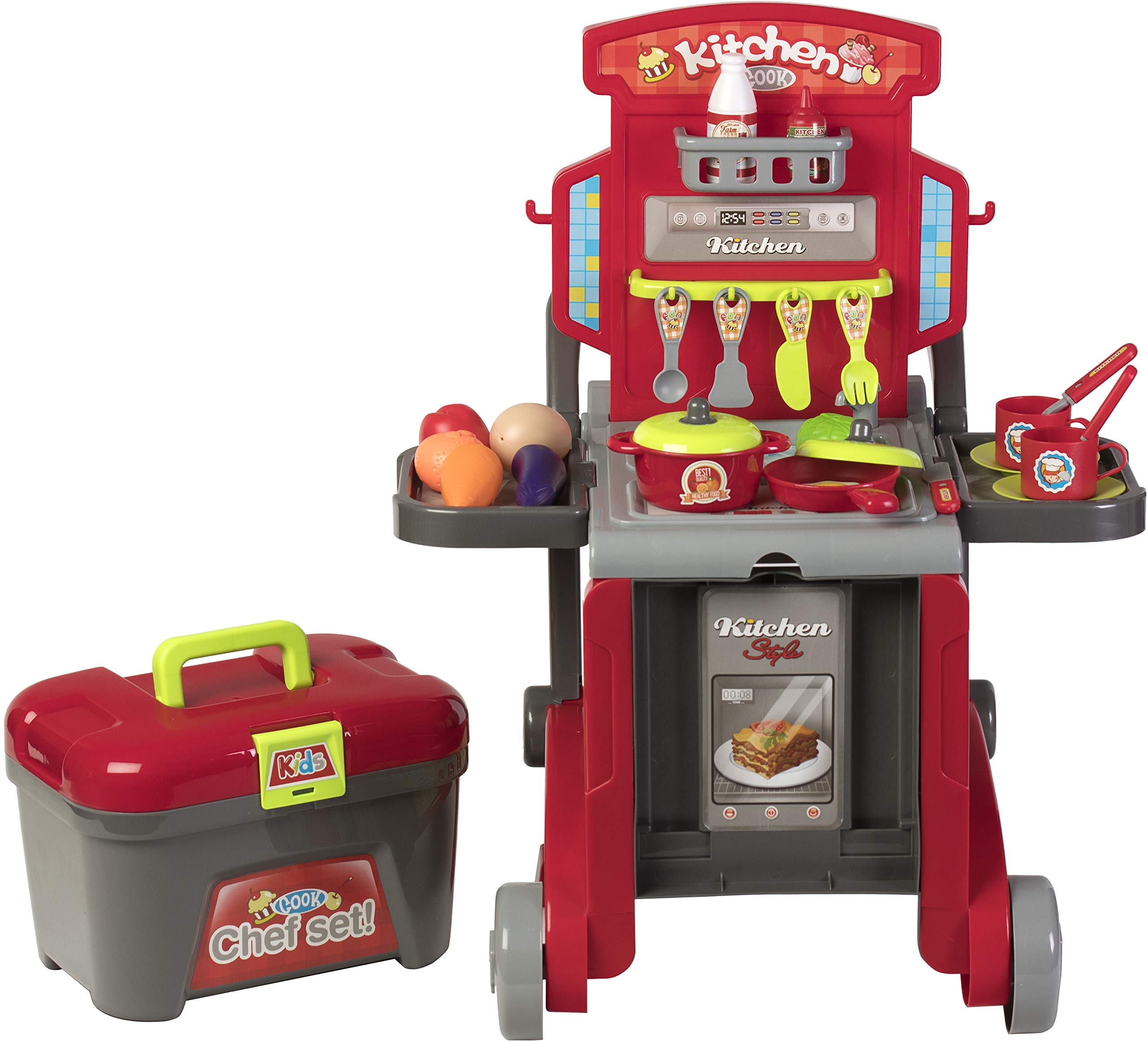 Kitchen Cook Grill Boys Playset Oven Stove, Vegetables, Pots & Pans, Cups, Utensils w/ Compact Carry Case by Kitchen Cook (Image #2)