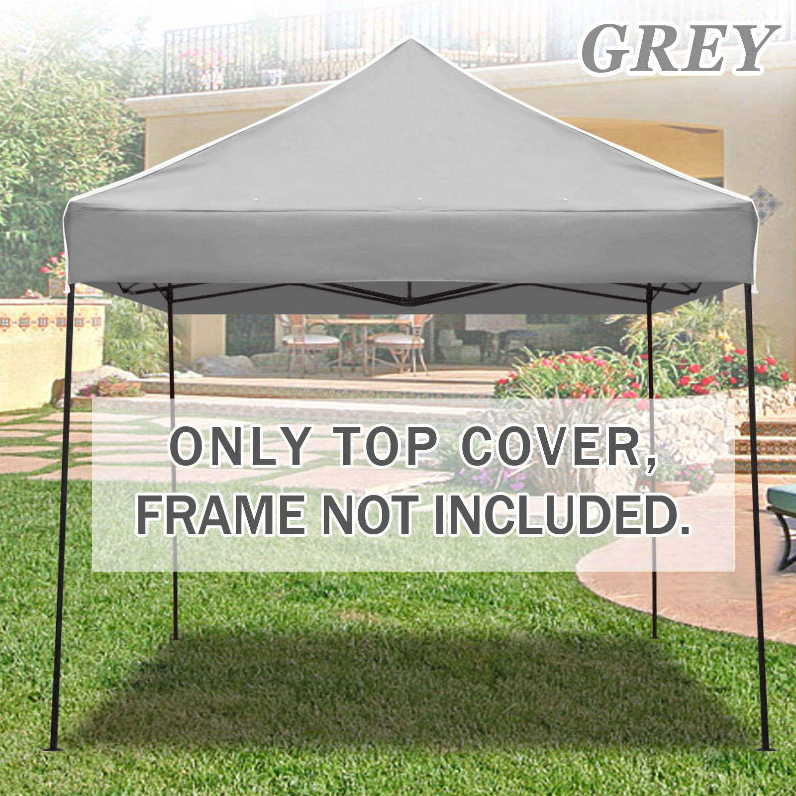 BenefitUSA Ez pop Up instant Canopy 10'X10' Replacement Top gazebo EZ canopy Cover patio pavilion sunshade polyester (Grey)