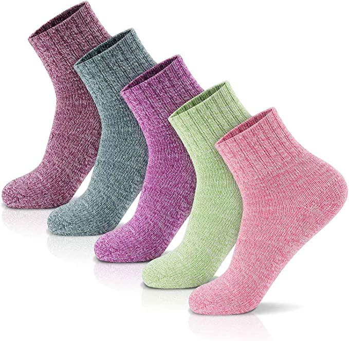 B-8 4 Pairs Womens Wool Socks Thick Socks Winter Warm Cozy Socks Gifts