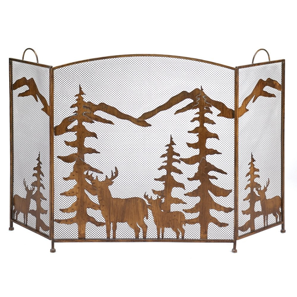 Gifts & Decor Rustic Forest Folding Fireplace Screen Furniture Creations 12295
