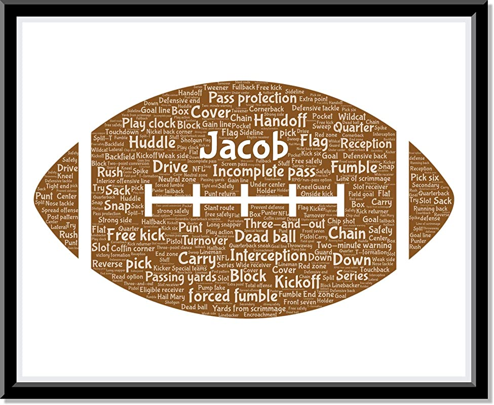 Personalized Football Decor for Boys Room, NFL Fan poster gifts for him, Custom Birthday Gifts, Word Art Typography Football Man Cave, Custom Bedroom Decor…