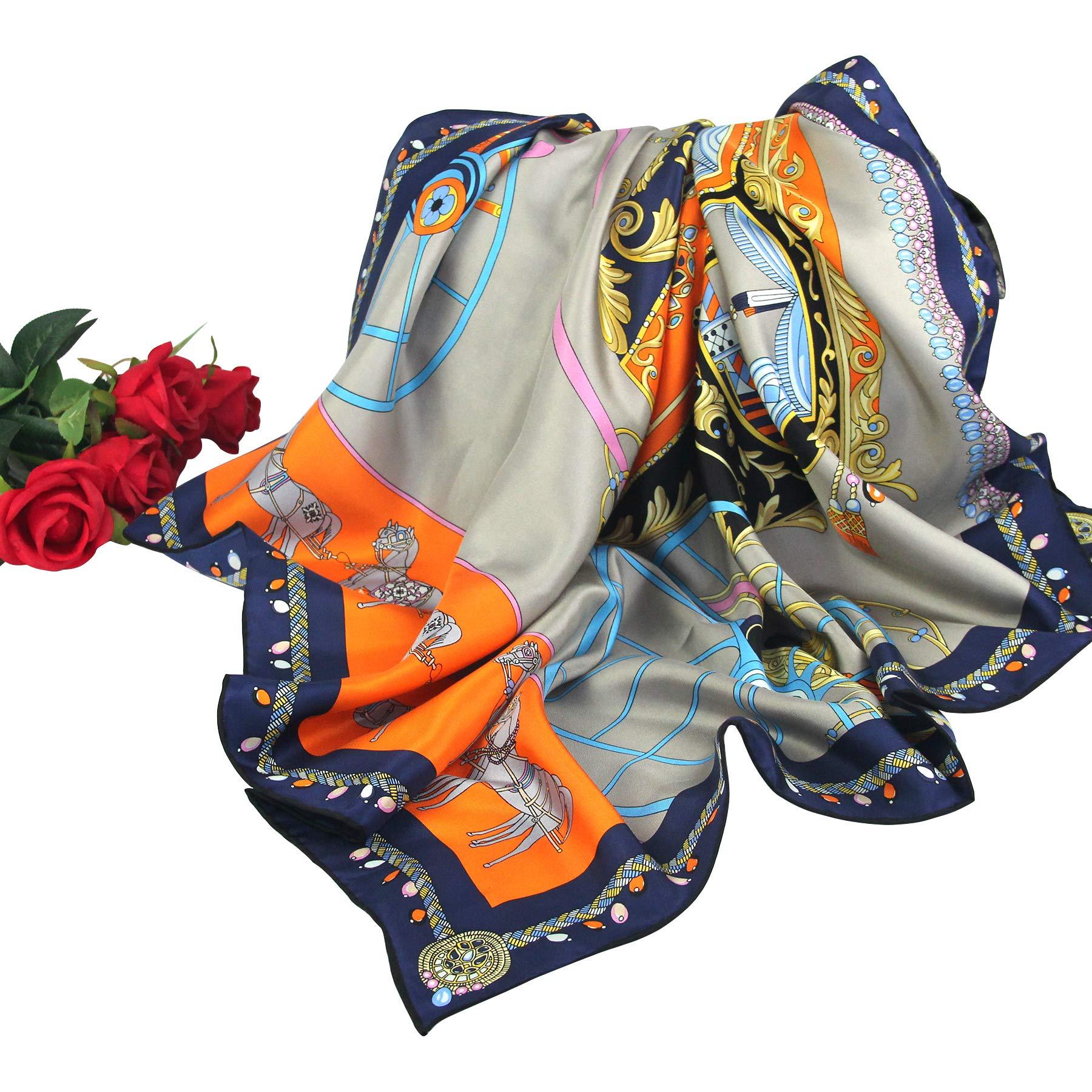 Muberry SilkTexture Barocco Scarves-Pantonight Pure Silk 14MM Hand Rolling Edge Silk Twill Scarf for Women (GREY 401)