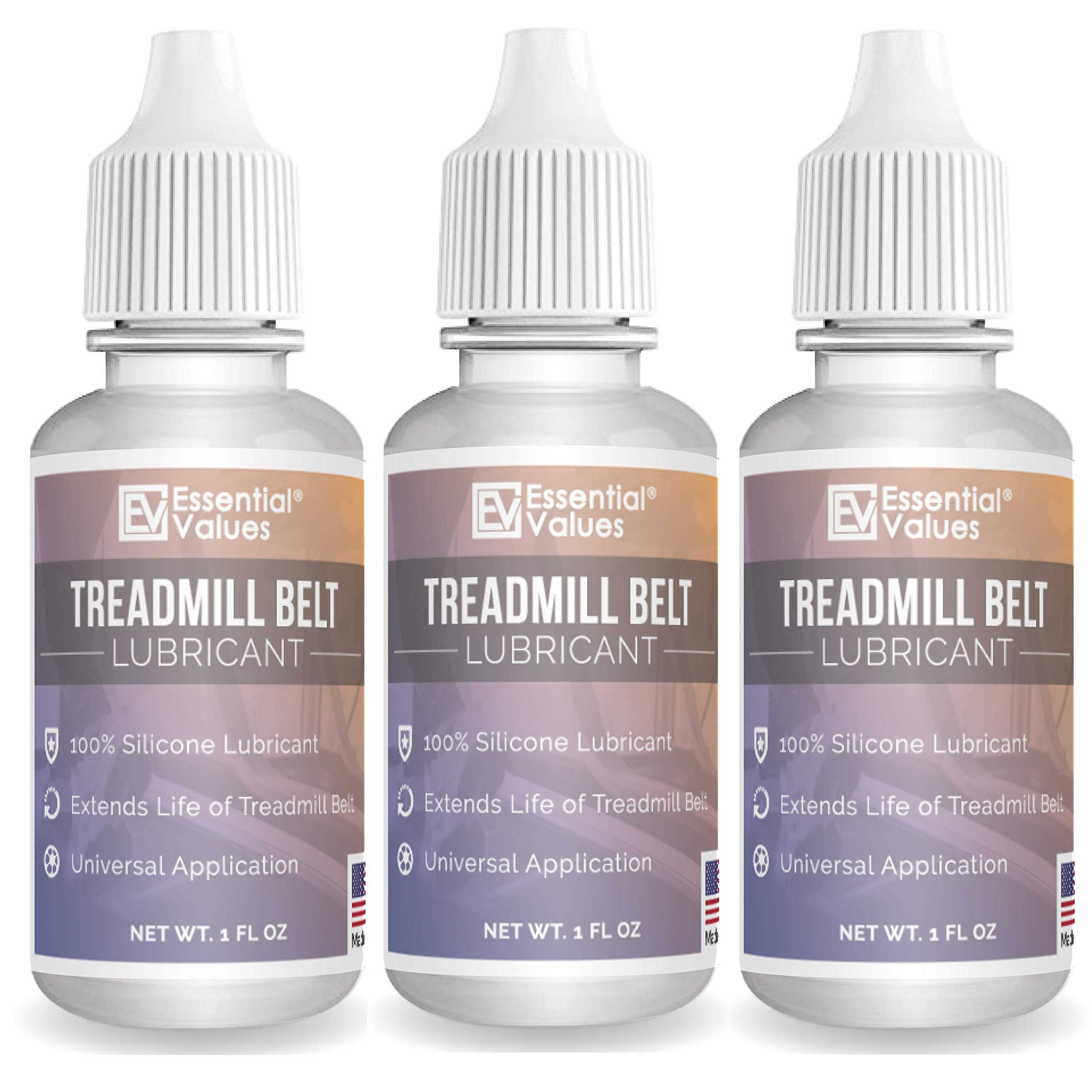 3-Pack Essential Values Treadmill Belt Lubricant - Odorless & Toxin-Free Silicone Oil - Silicone Lubricant Reduces Noise - Easy Squeeze Flow Treadmill Lubricant Universal Treadmill Lube