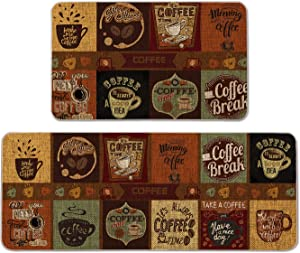 Artoid Mode Coffe Time Coffe Tea Cup Decorative Kitchen Mats Set of 2, Seasonal Daily Afternoon Coffe Tea Time Holiday Party Low-Profile Floor Mat for Home Kitchen - 17x29 and 17x47 Inch