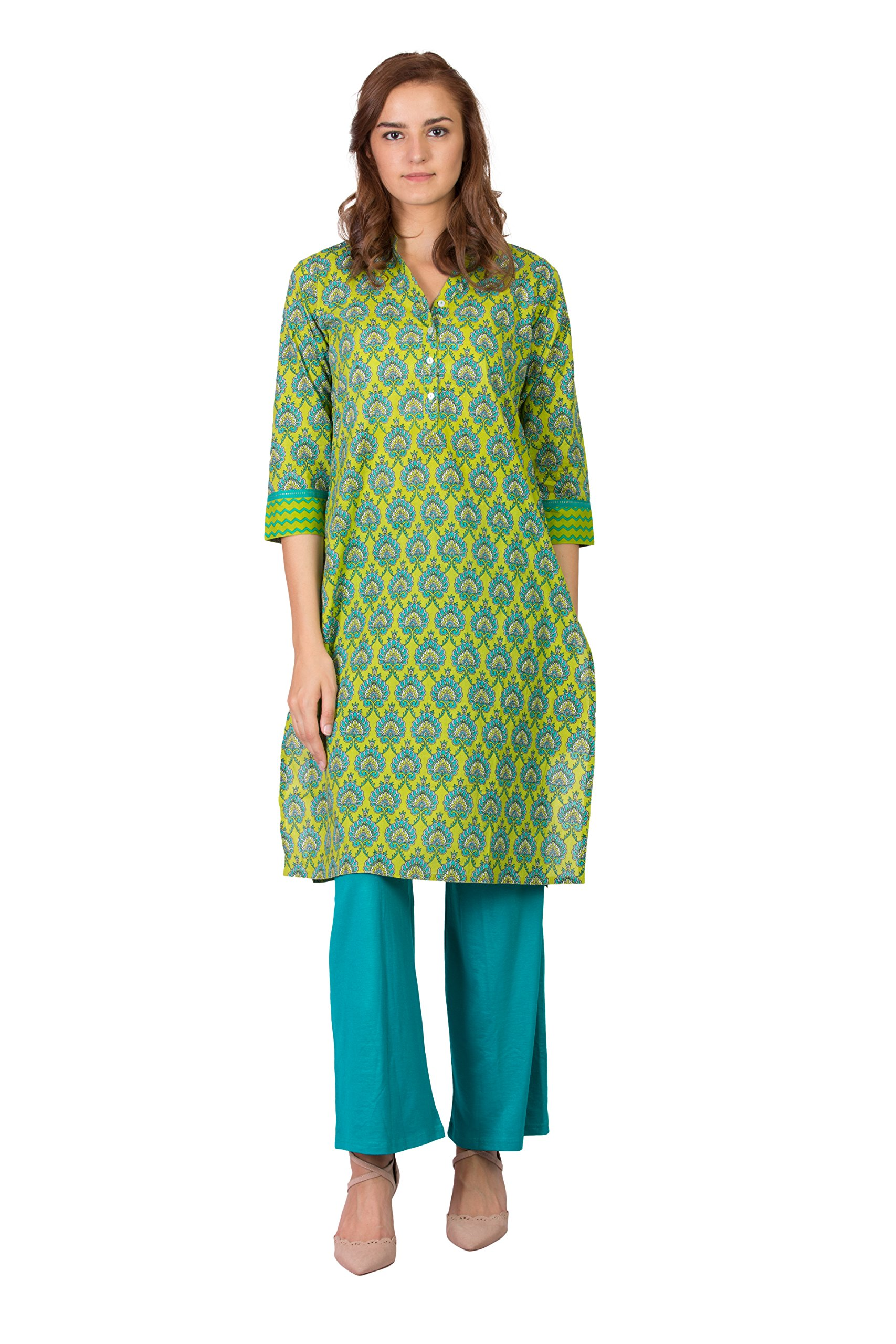 SABHYATA Women Kurta Designer Ethnic Long Dress Casual Tunic Kurti for Women Ladies Partywear Material 100% Pure Cotton Chinese Collar XX-Large P.Green