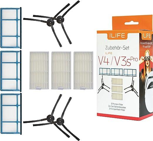 ILIFE - Juego de Accesorios Originales para Robot Aspirador V3s Pro y V4 (10 Piezas, Filtro de partículas Finas, cepillos Laterales, Filtro primario): Amazon.es: Hogar