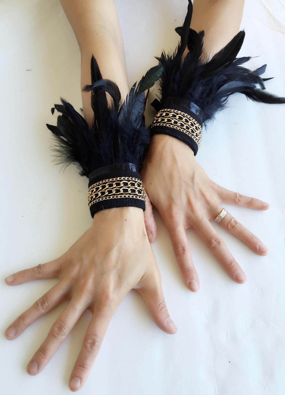 Handmade Gothic Black Feather Wrist Cuffs Victorian Burlesque Fantasy feathers costume Halloween.