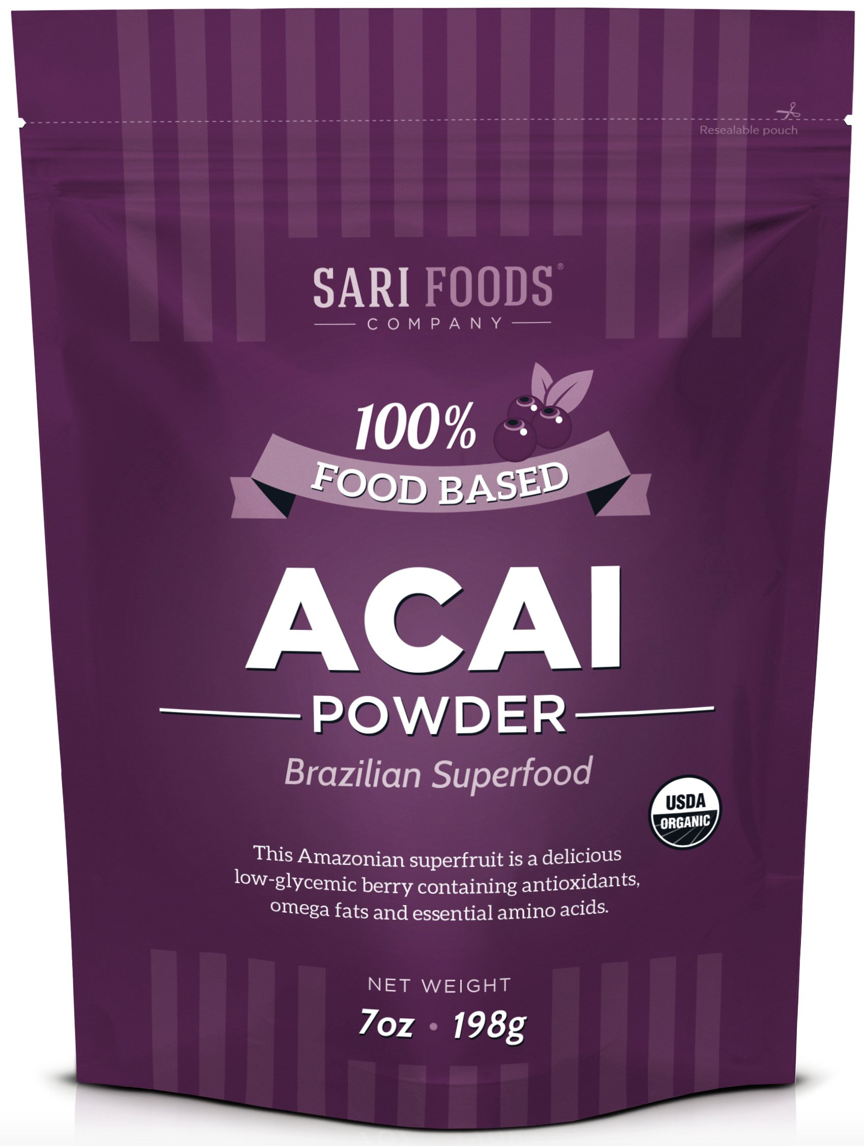 Pure Organic Acai Powder (7 Ounce) - 100% Natural Freeze Dried Superfood. Non-Synthetic & Naturally Occurring Plant Based Nutrition: Antioxidants, Omega Fats, Essential Amino Acids, Calcium and Iron.