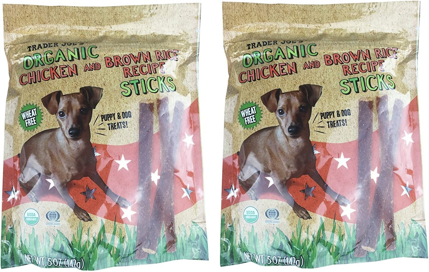2 Pkgs. Trader Joe's Organic Chicken & Brown Rice Sticks Wheat Free....5 Oz Bag X 2