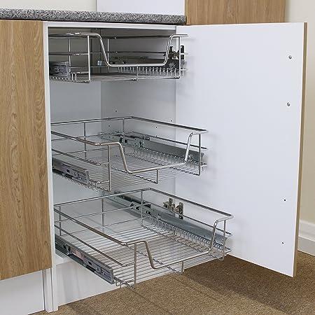 KuKoo Cestas Muebles de Cocina, deslizantes, Cierre Suave, para armarios de 300 mm de Ancho, cajones de Almacenamiento: Amazon.es: Hogar